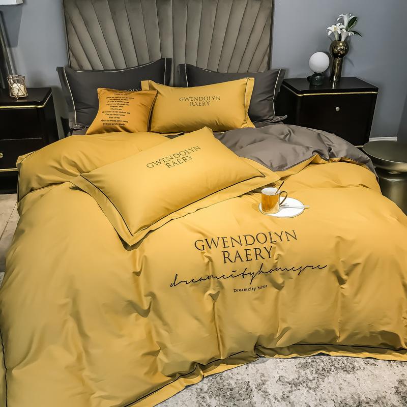 支長絨棉刺繡四件套全棉床單純棉被套床上用品 60 純色歐式高檔奢華