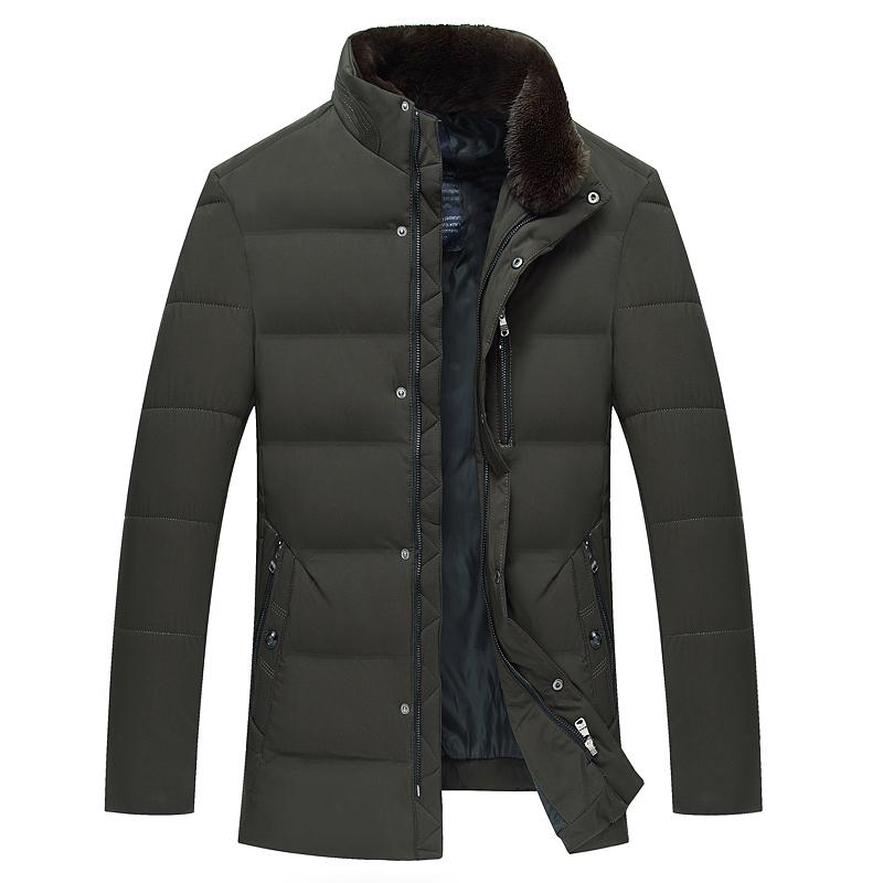 中老年男士羽绒服冬季白鸭绒爸爸装外套加厚保暖大码毛领羽绒棉衣