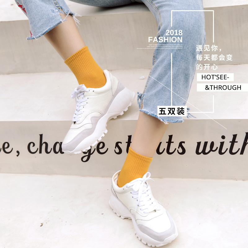 夏季 网红彩色袜子女薄款学生中筒袜潮韩版学院风糖利色运动袜  ins