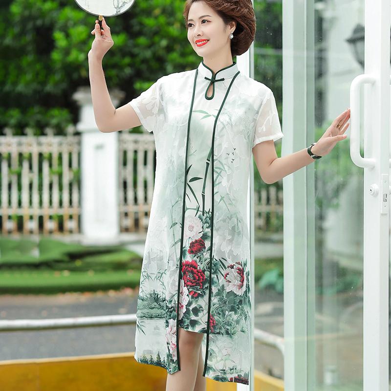 中年妈妈夏装两件套2020新款中老年人女时尚洋气阔太太连衣裙套装