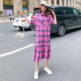流行裙子宽松韩版网红格子衬衫长袖裙秋冬棉质磨毛法式连衣裙女装