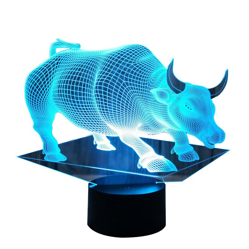 小夜灯插电触控变色装饰氛围台灯卧室起夜睡眠床头夜灯 3d 创意老牛