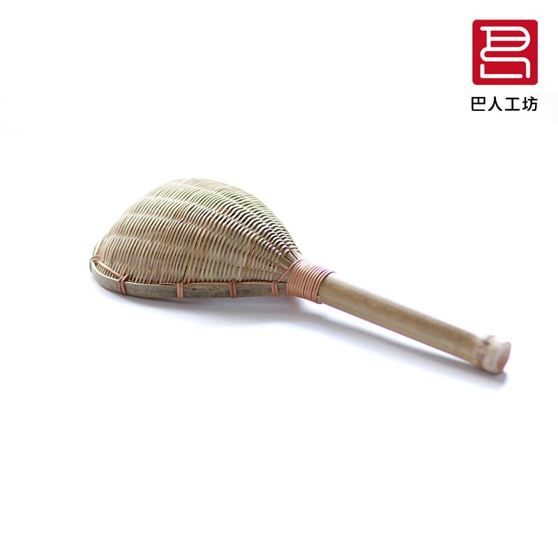 竹编捞面大漏勺过滤网 麻辣烫漏勺 纯手工网漏粉篱 木笊篱漏瓢