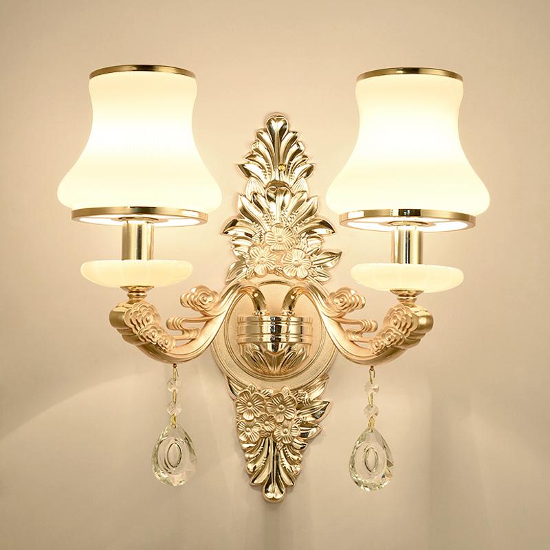 欧式壁灯水晶壁灯客厅卧室过道电视背景墙壁灯充电电池床头壁灯