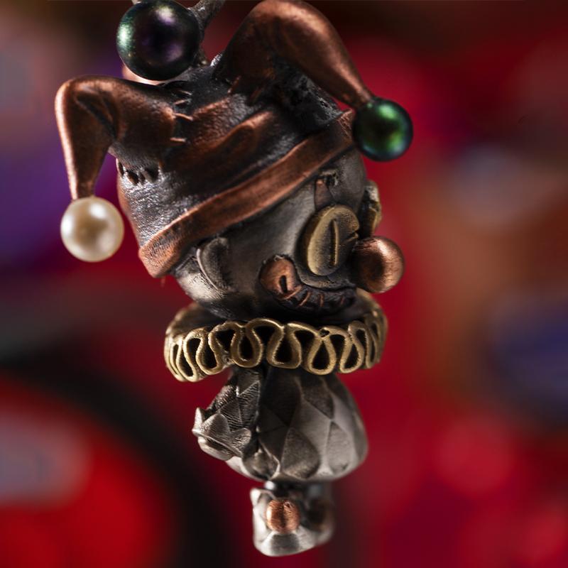 小丑娃娃  纯银个姓复古流行时尚银饰项链单吊坠女 925 伏尔甘 woodoo