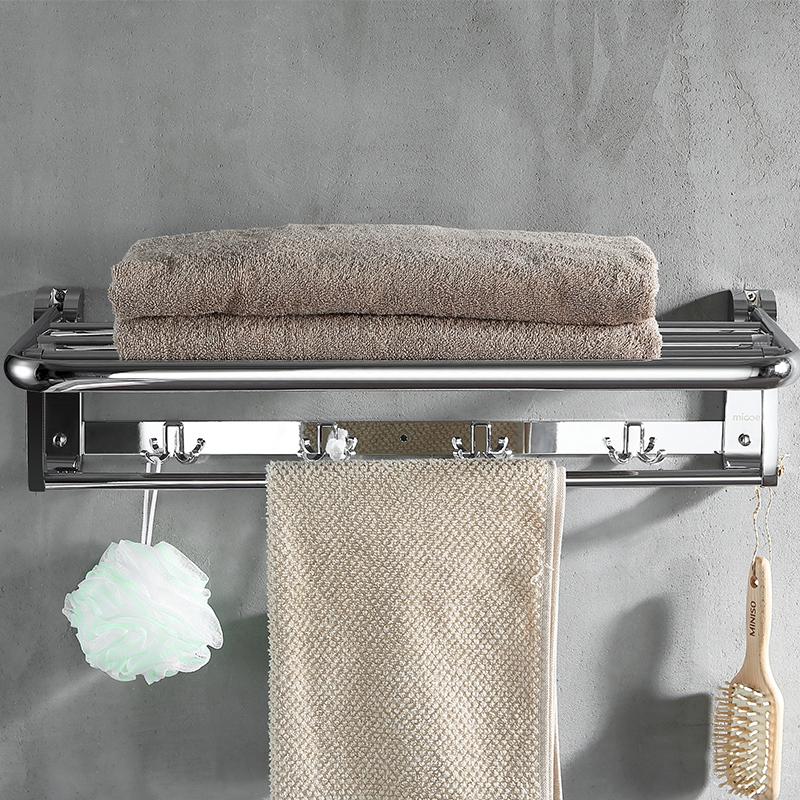 四季沐歌毛巾架304不锈钢五金浴巾架挂件套浴室壁挂卫生间置物架