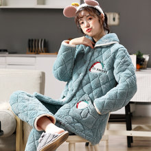 Ms. coral velvet pajamas winter three plus thick velvet warm spring and winter models quilted flannel tracksuit