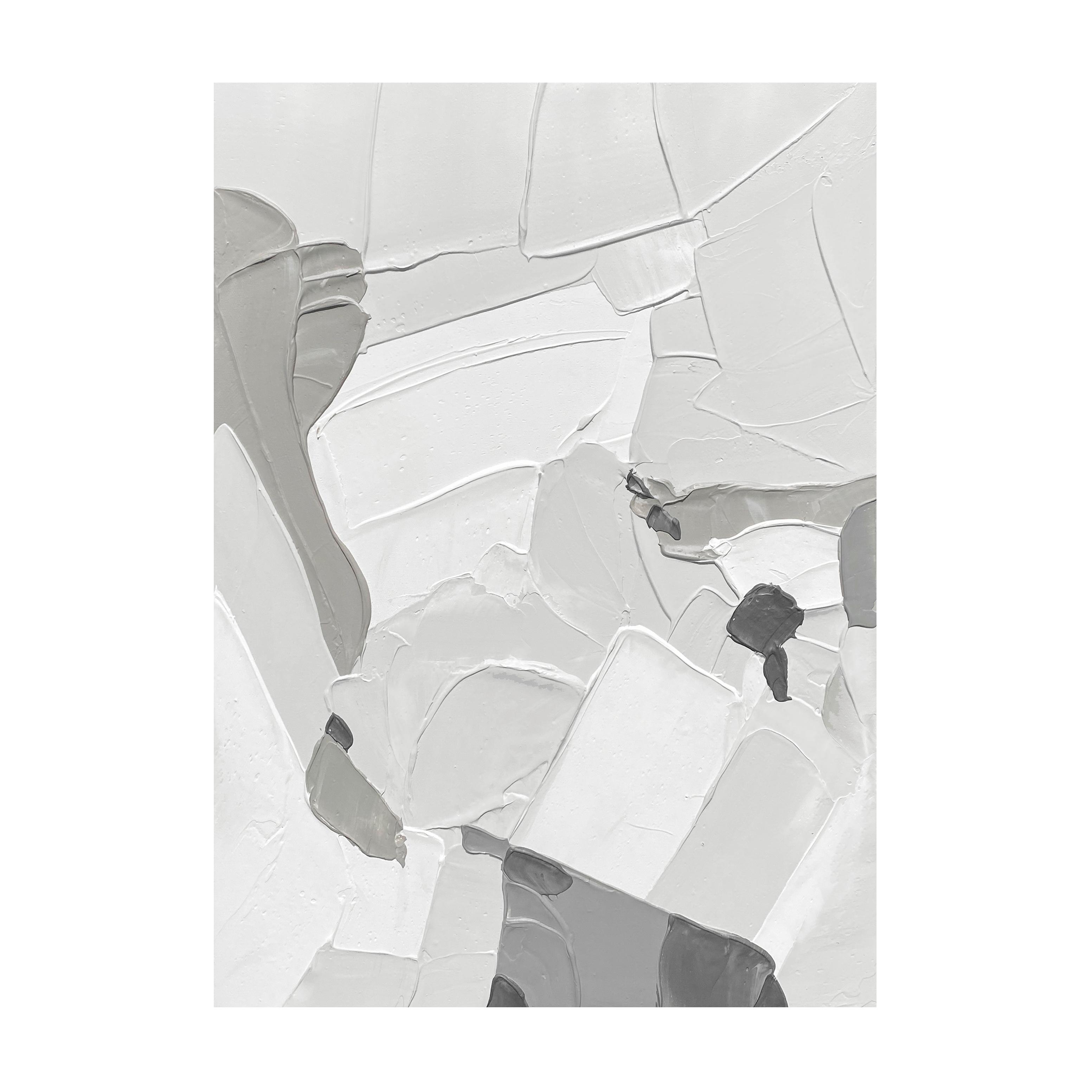 手绘油画立体流畅刀画莫兰迪灰色北欧玄关装饰画定制大尺寸挂画