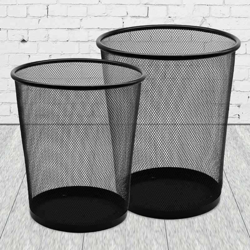 家用垃圾桶筒筐卫生间厨房卧室酒店茶几办公室无盖纸篓大号铁丝网