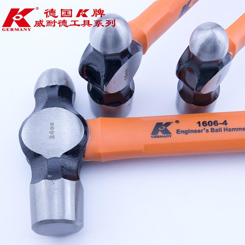 德国K牌进口品质玻璃纤维圆头锤子手锤榔头奶头锤榔头铁锤手锤头