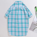 Real West short-sleeved shirt male 2020 summer new checkered casual shirt youth slim cotton lapel top