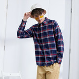 Hitz Jeanswest men's long-sleeved shirt Slim cotton flannel checkered shirt Korean version of the trend