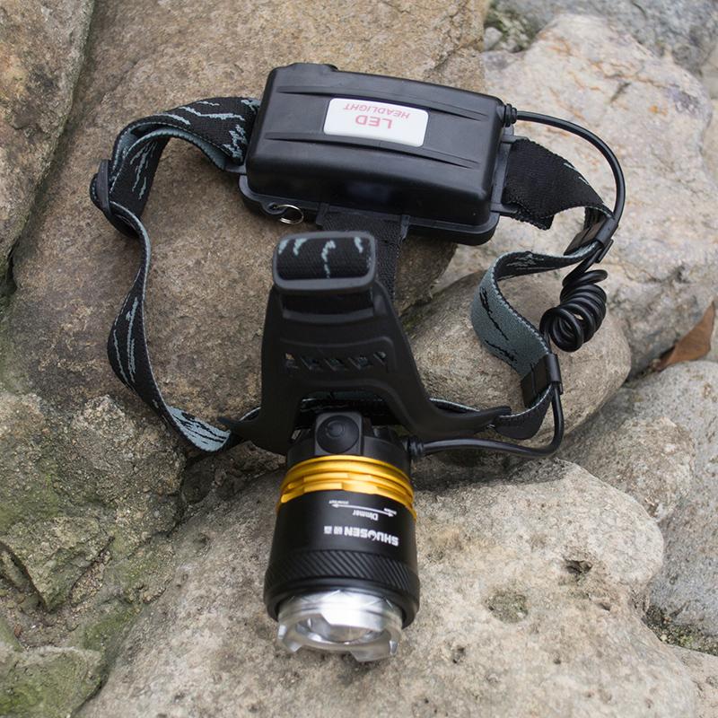 硕森led超亮充电式头戴T6手电筒疝气夜钓鱼锂电强光变焦头灯矿灯