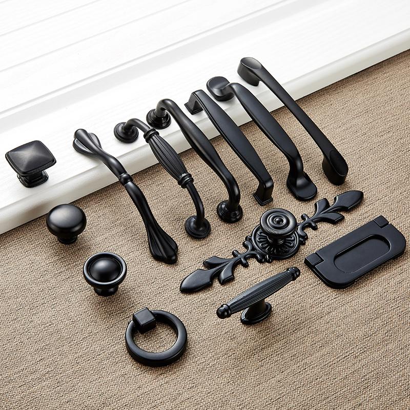 橱柜抽屉拉手美式黑色衣柜门把手现代简约欧式厨门单孔五金小拉手
