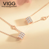 Vigg ring diamond small waist necklace 520 heart set chain walking high sense sterling silver clavicle chain