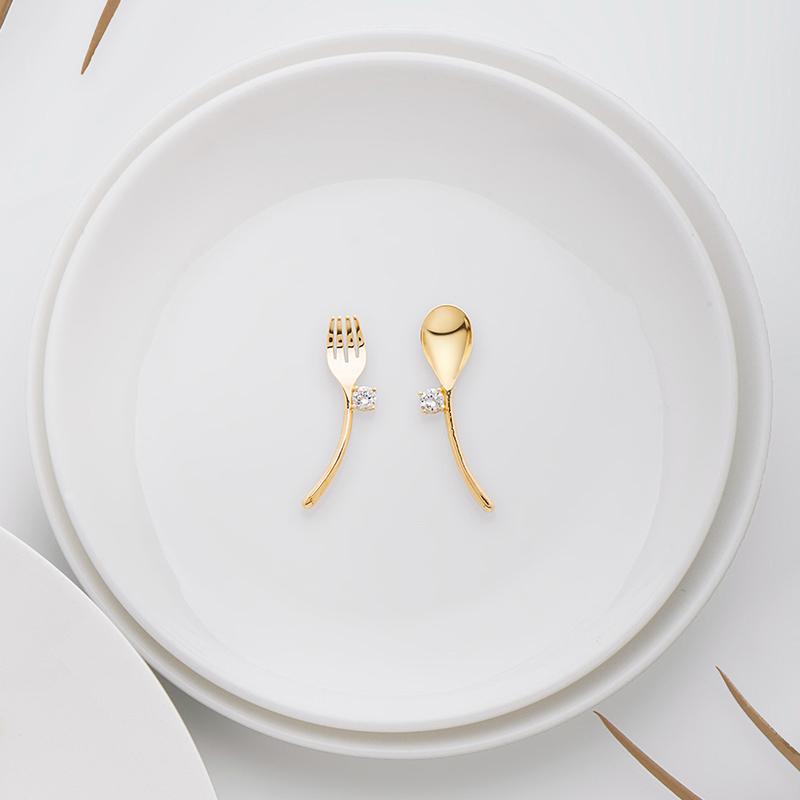 纯银女简约小众设计感耳环饰品 925 迷你餐具耳钉 何方珠宝 HEFANG