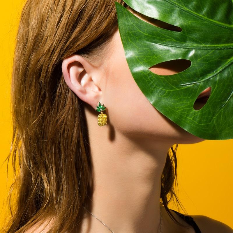 HEFANG Jewelry/何方珠宝菠萝耳环 925纯银女网红水果耳钉耳饰品