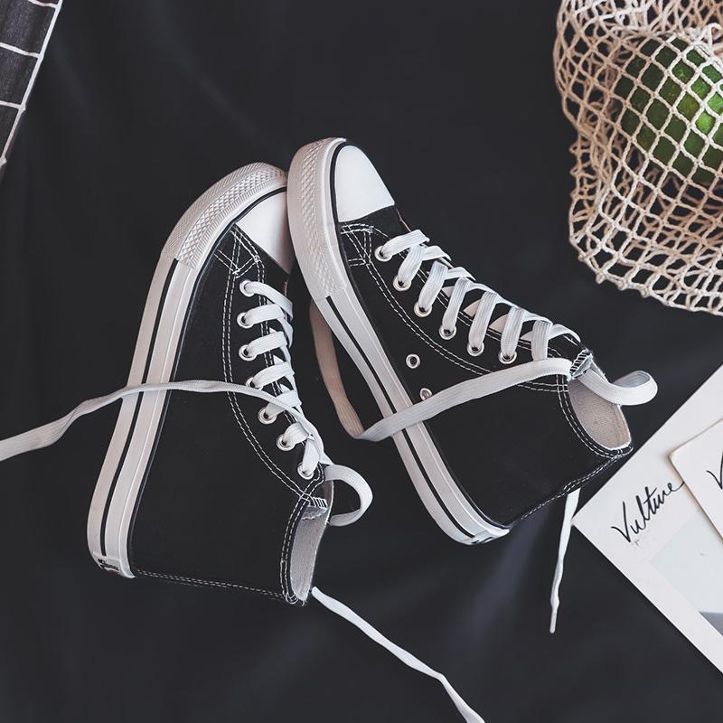 学生布鞋板鞋 ulzzang 潮鞋新款高帮帆布女鞋韩版百搭 ins 春秋鞋 2019