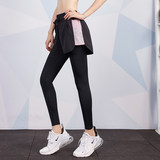 Fitness treadmill training pants female outer wear fake two tight elastic mesh sports pants yoga pants Slim was thin