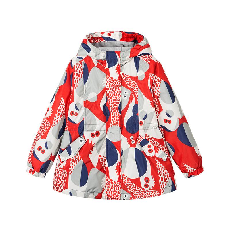 水孩儿女童加绒风衣外套春秋新款中大儿童可爱夹克加厚冲锋衣
