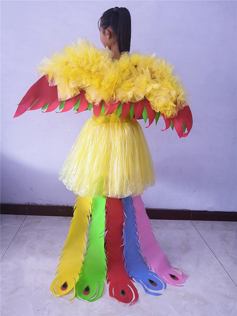 环保服女儿童时装秀表演服舞台演出服天使与凤凰公主裙拖尾走秀裙