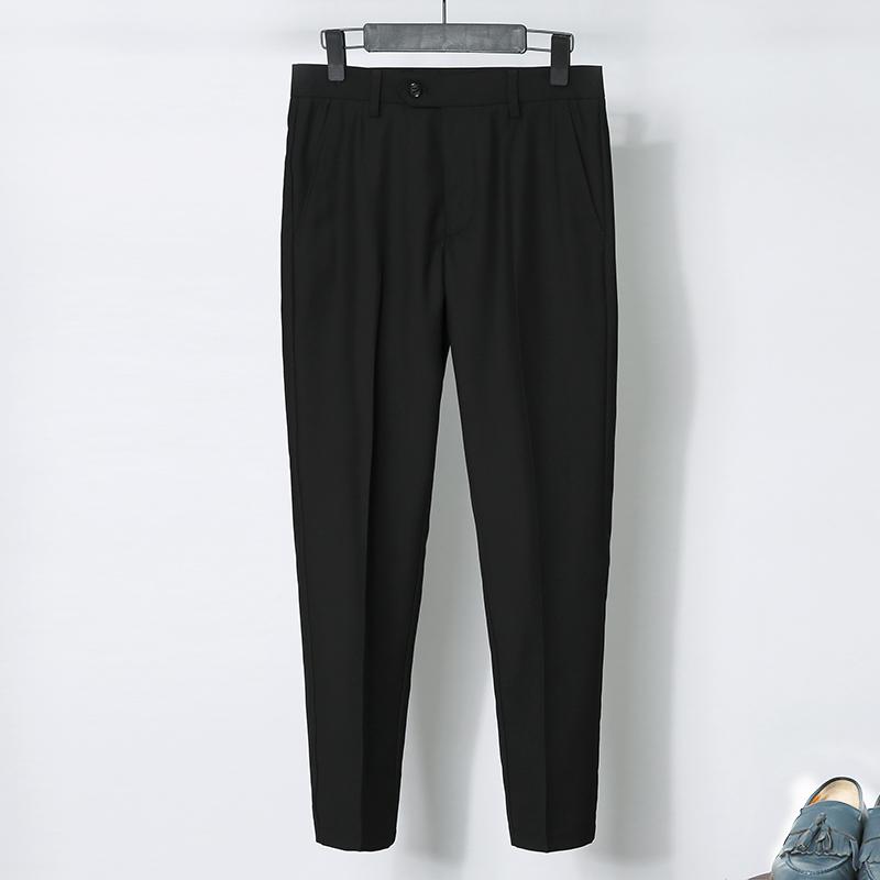 夏季西裤九分裤男休闲裤韩版修身显瘦小脚裤精神小伙西装裤9分裤