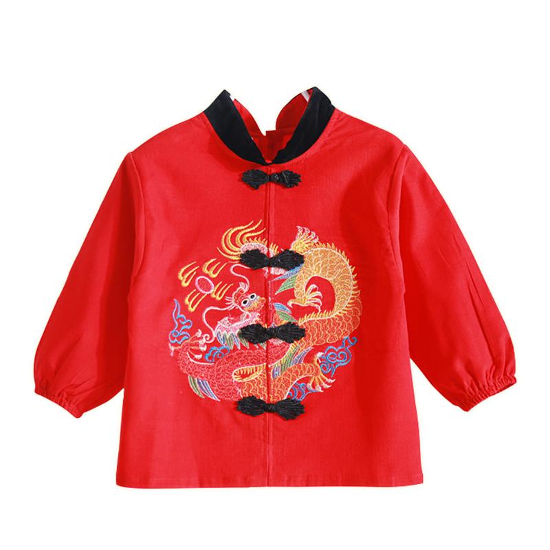 春芽小雨灯芯绒唐装宝宝红罩衣儿童婴儿纯棉防水饭衣新年喜庆秋冬