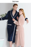 Autumn and winter coral fleece couple nightgown men flannel bathrobe pajamas long section thickened ladies winter plus velvet