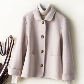 2019春秋装新款双面呢羊绒大衣外套小个子100%纯羊毛女短款娃娃领