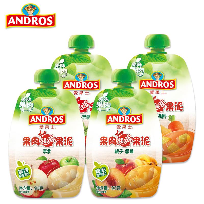 andros爱果士果肉果泥20袋 辅食水果泥儿童零食辅食泥可吸果泥