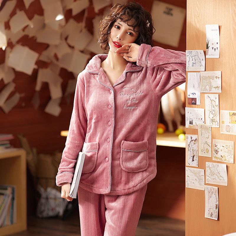 【加厚保暖】女珊瑚绒睡衣套装-秒客网
