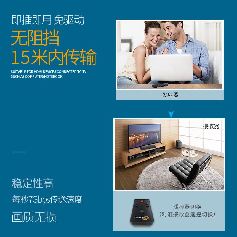 冠艺hdmi无线同屏器 4发1收 高清3D影音传输器电脑投屏电视投影仪