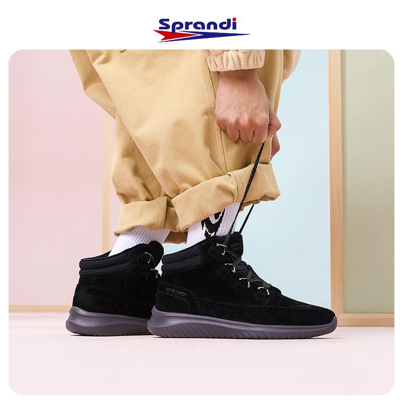 Sprandi斯潘迪男鞋 2019冬季新款休闲鞋男靴子高帮保暖潮流短靴