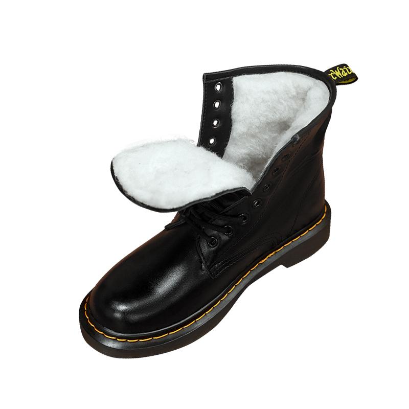 头层牛皮 真皮毛一体雪地靴女加绒加厚棉鞋冬马丁靴女英伦风短靴  dr