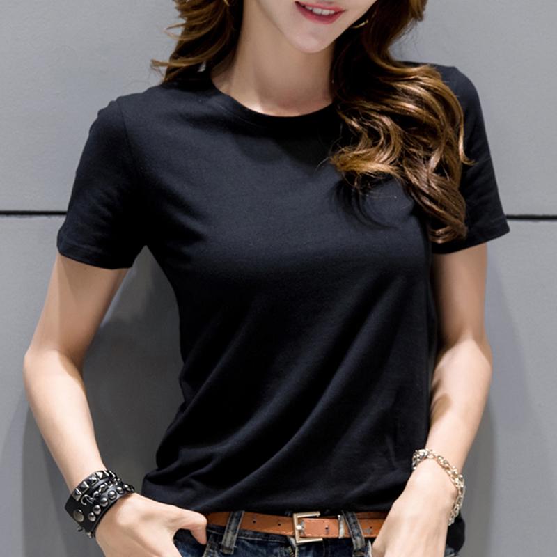2019新款短袖纯白色t恤女装夏季修身黑色打底衫纯棉韩范上衣体恤
