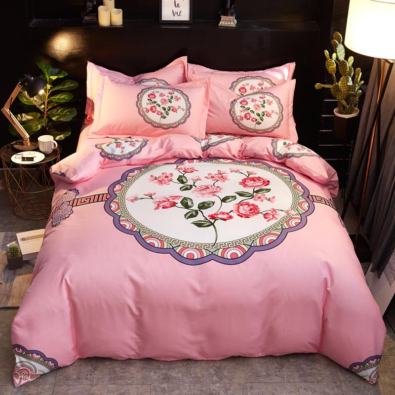 不掉色 床单款床上用品 纯棉大阪花被套 秋冬新品全棉斜纹四件套