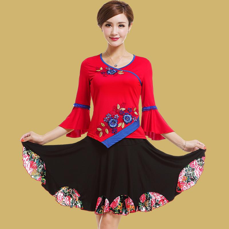 艳王2019广场舞服装新款套装夏季短袖上衣裙中老年舞蹈跳舞衣服女