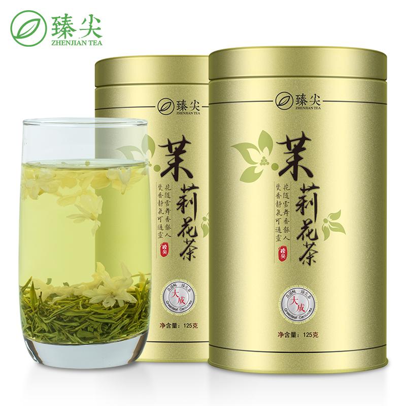 臻尖飘雪茉莉花茶2019新茶特级浓香型茶叶四川花茶250g罐装(大成)
