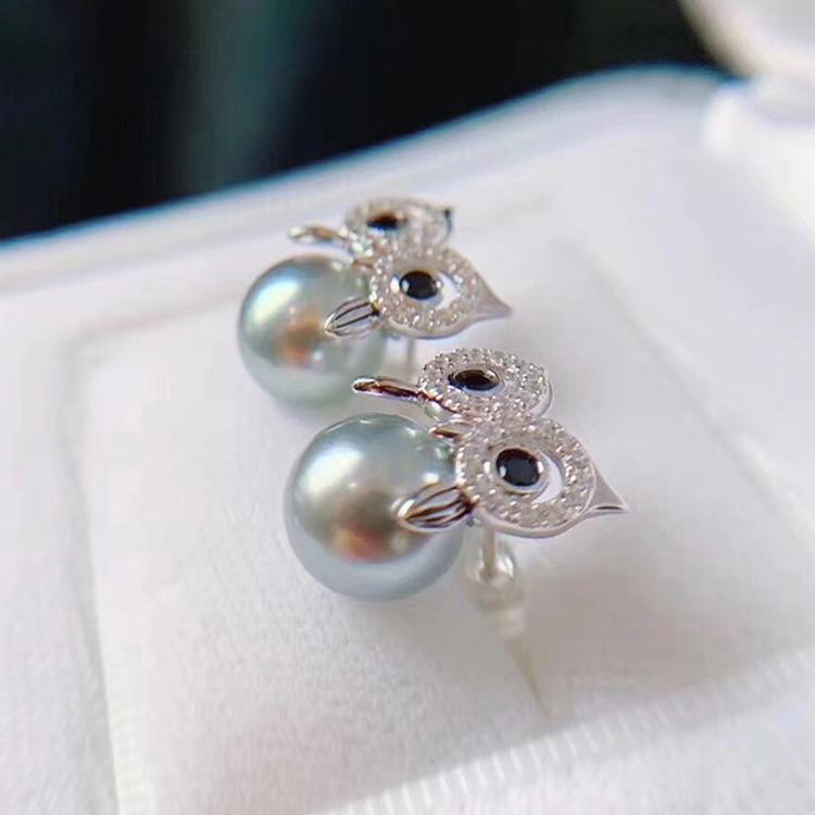 S925  猫头鹰款耳钉项坠托 吊坠空托 DIY 套装配件 纯银珍珠耳环