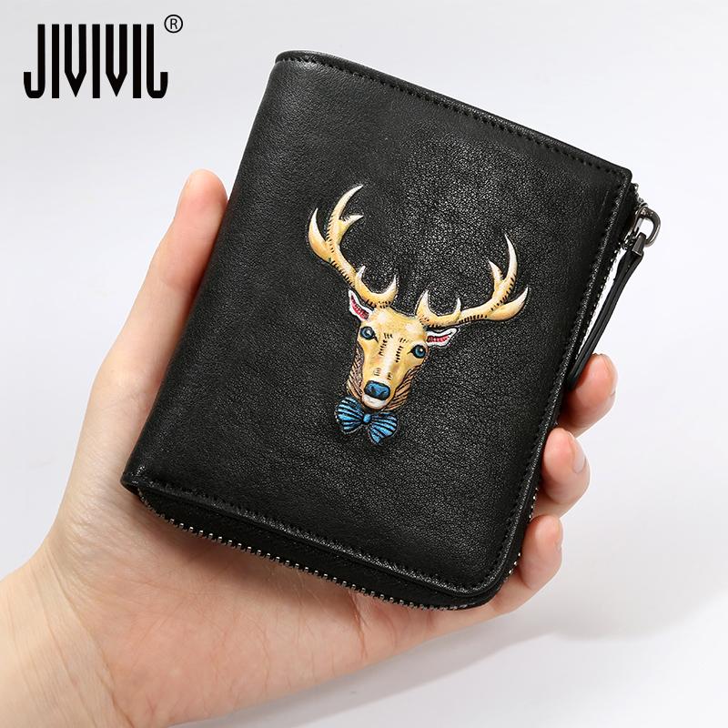 九娃钱包男士短款真皮青年竖款卡包拉链零钱包个姓皮夹潮 JIVIVIL