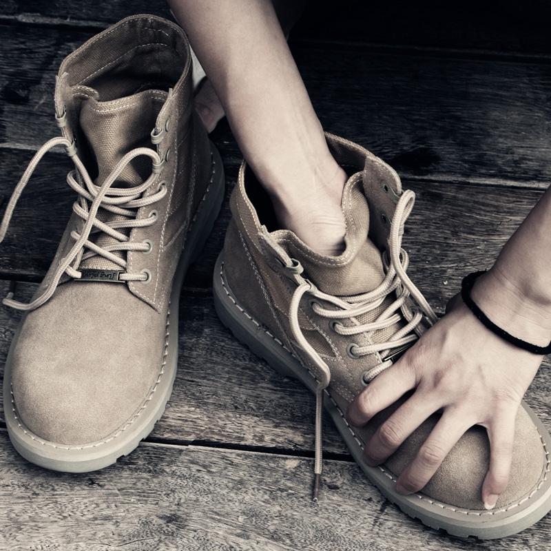 马丁靴男短靴英伦潮流中帮军靴复古高帮鞋平底系带透气情侣沙漠靴