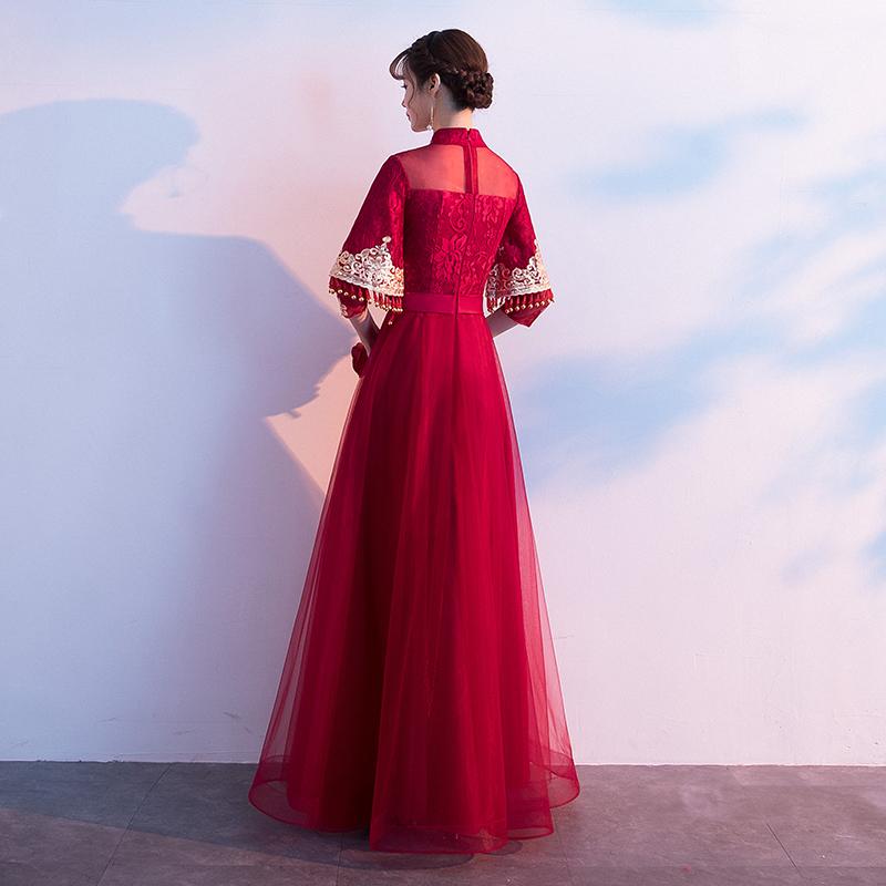 敬酒服酒红色长袖秋冬季显瘦结婚衣服秀禾服新娘礼服女出阁服公主