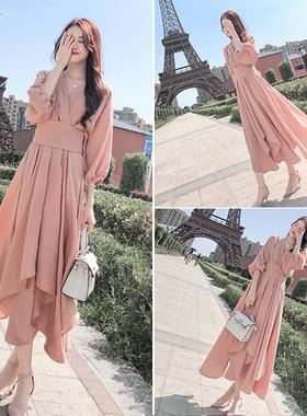 粉色连衣裙女2021年春秋新款女装法式名媛气质收腰显瘦长裙子秋装