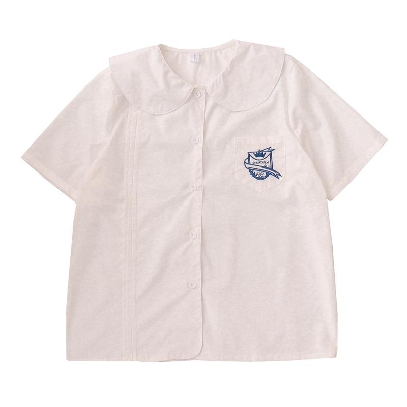 2021夏季新款日系学院风风琴褶皱刺绣宽松娃娃领白衬衫女打底上衣