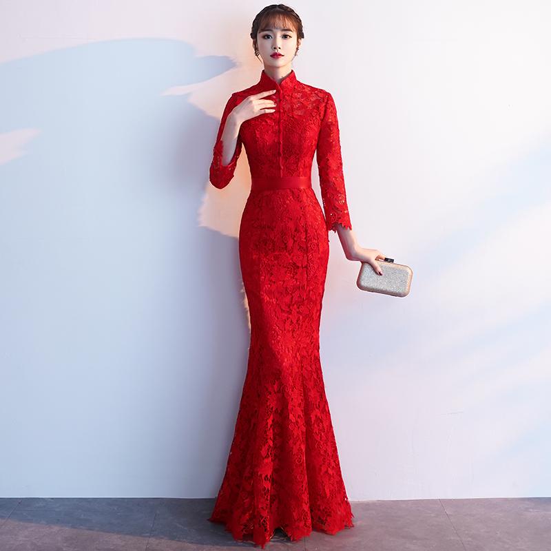 平时可穿新娘敬酒服2019夏款现代回门结婚订婚小礼服中长款女红色