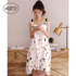 Sling nightdress female summer sexy pure cotton with chest pad summer spring and autumn mid-length sleeveless vest skirt pajamas