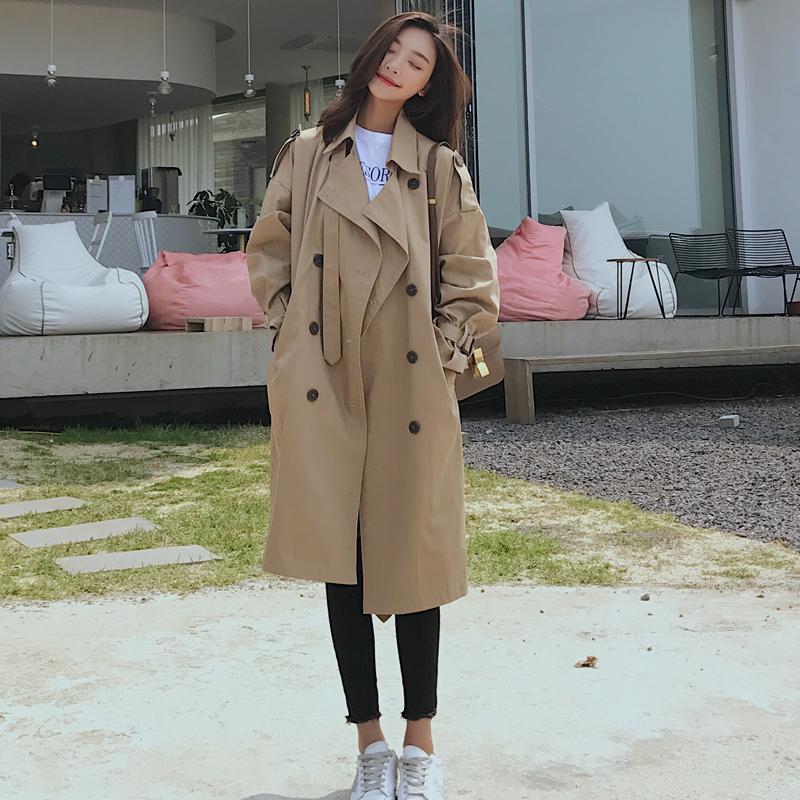 卡其色休闲宽松长款过膝春外套 lulu 新款 2018 风衣女中长款韩版秋季