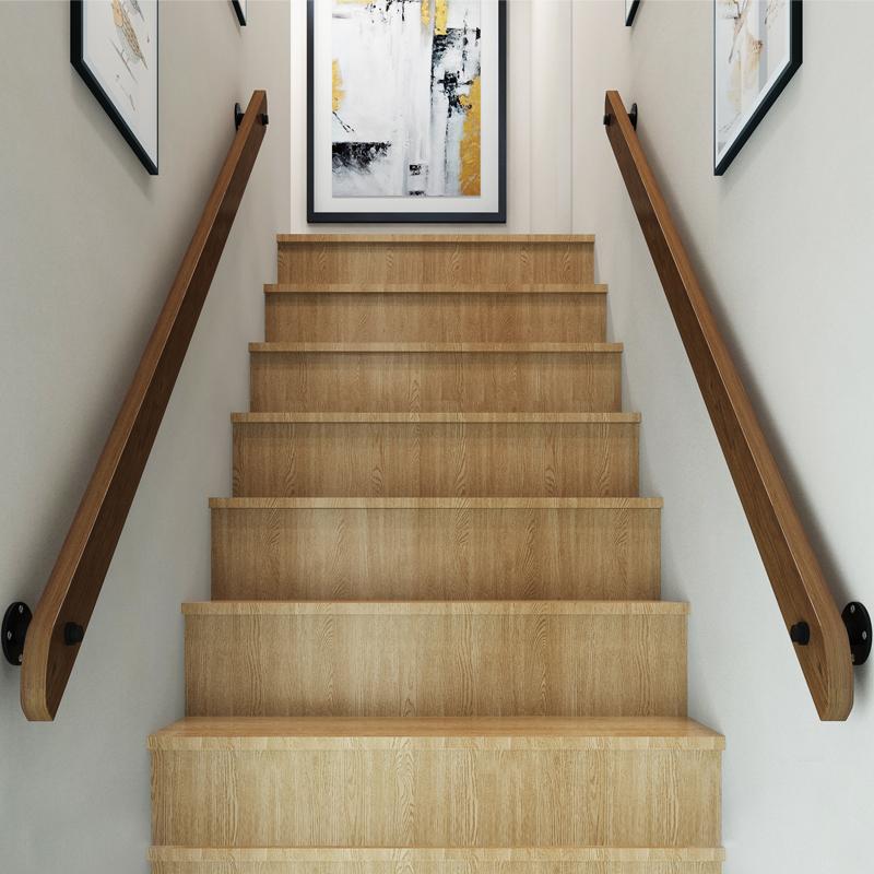 欧式靠墙木楼梯扶手实木别墅阁楼室内家用防滑拉手幼儿园走廊扶手