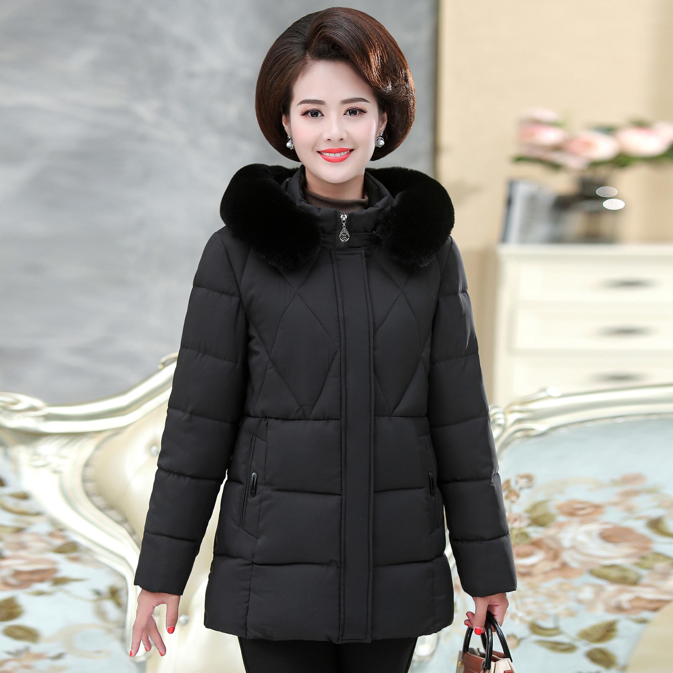 妈妈冬装外套中老年女装棉衣2019新款老人女羽绒棉服加厚奶奶棉袄