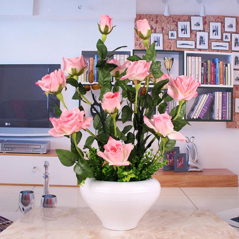 包邮滴水玫瑰仿真花套装假花绢花高仿真手感客厅摆放花艺装饰花